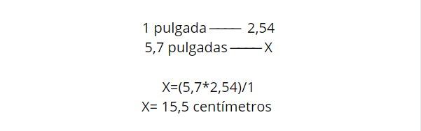 Cálculo para medir pulgadas de un móvil